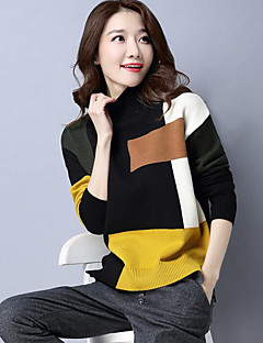Women's Daily Casual Regular Pullover,Color Block Round Neck Long Sleeves Wool Spring Medium Micro-elastic