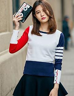 Dames Casual/Dagelijks Normaal Pullover Effen Print Kleurenblok-Ronde hals Lange mouw Wol Overige Lente Herfst Medium Micro-elastisch