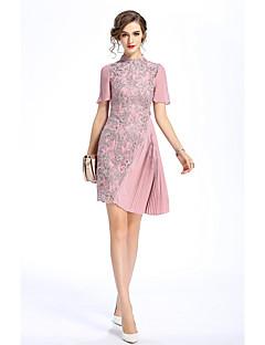 hesapli MARCOBOR-Kadın Dışarı Çıkma Günlük/Sade Vintage Çin Stili Kılıf Elbise Nakışlı,Kısa Kollu Dik Yaka Asimetrik Polyester Yaz Normal Bel Esnemez Orta