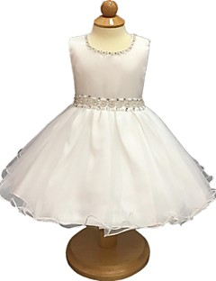 cheap Flower Girl Dresses-Ball Gown Short / Mini Flower Girl Dress - Organza Sleeveless Jewel Neck with Crystal Detailing Sashes/ Ribbons Zipper Ruched by YDN