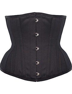 cheap Women's Lingerie-Women's Underbust Corset Plus Size NightwearRetro Sexy Push-Up Sports Solid-Medium M-3XL Black