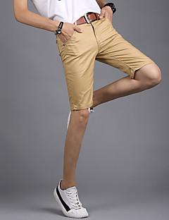 billige Herrebukser og -shorts-Herre Gatemote Mikroelastisk Rett Shorts Bukser, Medium Midje Polyester / Bomull Blanding Ensfarget Sommer