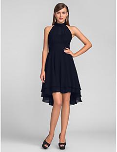 billiga Cocktailklänningar-A-linje Halterneck Asymmetrisk Chiffong Cocktailfest / Återföreningsfest Klänning med Plisserat av TS Couture® / Den lilla svarta
