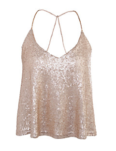 Women's Daily Going out Casual Sexy Street chic All Seasons Tank Top,Solid U Neck Sleeveless Sequin Medium