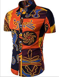Bomull Annet Kortermet,Skjortekrage Skjorte Ensfarget Trykt mønster Enkel Fritid/hverdag Arbeid Herre