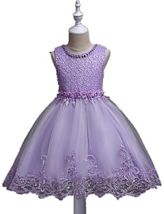 Ball Gown Short / Mini Flower Girl Dress - Organza Sleeveless Jewel Neck with Sequin by YDN