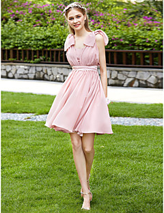 cheap Short Bridesmaid Dresses-A-Line Strapless Knee Length Chiffon Bridesmaid Dress with Bow(s) Sash / Ribbon Pleats by LAN TING BRIDE®