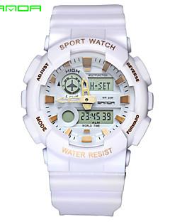 SANDA Herrn Sportuhr Armbanduhr Japanisch Quartz digital Alarm Wasserdicht Duale Zeitzonen Caucho Band Schwarz Weiß