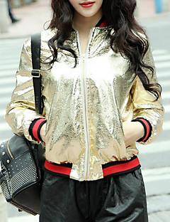 レディース 日常 春 レザージャケット,現代風 ラウンドネック プリント ショート その他 長袖