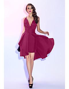 billiga Den lilla svarta-A-linje Dunkel halsringning Asymmetrisk Taft Den lilla svarta / Tvådelad Cocktailfest / Bal Klänning med Veckad / Plisserat av TS Couture®