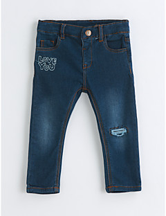 Girls' Solid Pants,Cotton Spring Fall Blue
