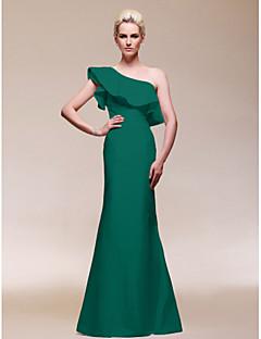 baratos Vestidos de Formatura-Tubinho Assimétrico Longo Tafetá Estilo Celebridade Evento Formal Vestido com Fru-Fru de TS Couture®
