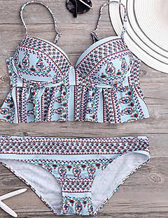 Dame Bikinikjole Blomstret Rynker Bandeau Trykt mønster