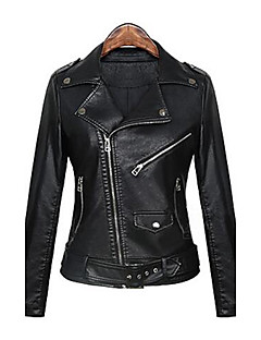 cheap -Women's Daily Street chic Punk & Gothic Spring Fall Regular Leather Jacket, Solid Peaked Lapel PU