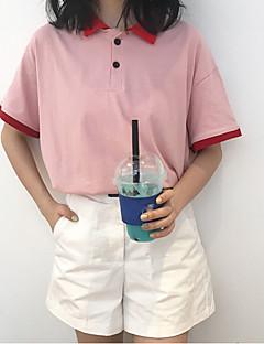 여성 컬러 블럭 셔츠 카라 짧은 소매 Polo,심플 캐쥬얼/데일리 면 폴리에스테르