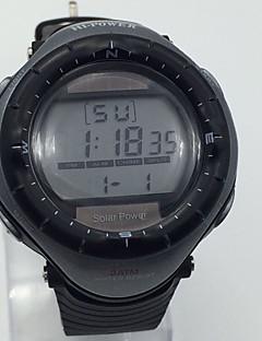 Herrn Sportuhr Armbanduhr Chinesisch Solarenergie Alarm Kalender Stopuhr Nachts leuchtend Caucho Band Cool Schwarz