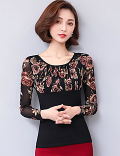 Women's Casual/Daily Simple Blouse,Floral Round Neck Long Sleeves Polyester
