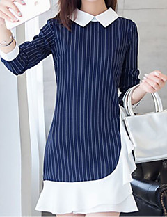 Women's Casual/Daily Work Cute Sheath Dress,Striped Shirt Collar Above Knee Long Sleeve Cotton Spring Fall Mid Rise Micro-elastic Medium