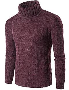 Normal Pullover Fritid/hverdag Arbeid Herre,Ensfarget Rullekrage Langermet Bomull Spandex Høst Vinter Tykk Elastisk