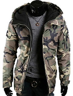 Men's Long Padded Coat,Casual Daily Sports Camouflage-Rayon Polyester Polypropylene Long Sleeves