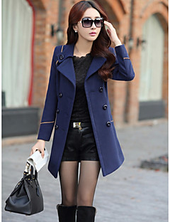 Women's Casual/Daily Simple Winter Coat,Solid Shirt Collar Long Sleeve Regular Wool