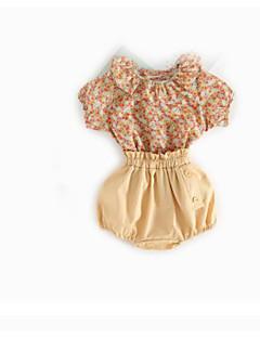 billige Sett med babyklær-Baby Baby Tøjsæt Weekend Helfarve, Bomuld Sommer Klassisk & Tidløs Lyserød Gul