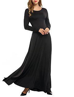 Women's Casual/Daily Sexy Swing Dress,Solid Round Neck Maxi Long Sleeves Cotton Fall Mid Rise Micro-elastic Medium