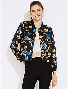 Damen Solide Einfarbig Blumen Street Schick Lässig/Alltäglich Jacke,V-Ausschnitt Frühling Standard Baumwolle Wolle