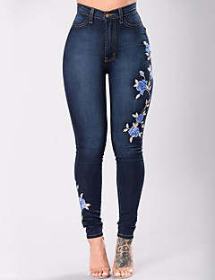Women's High Rise Micro-elastic Skinny Slim Jeans Pants,Street chic Embroidered Cotton All Seasons