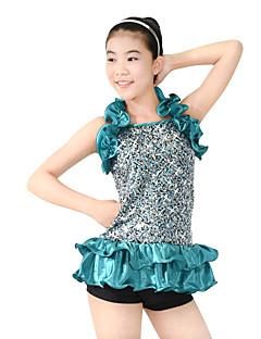 재즈 의상 여성용 아동용 성능 스판덱스 폴리에스터 반짝이 주름장식 타이어 4 개 민소매 드롭 레오타드 Neckwear 헤드 피스 반바지