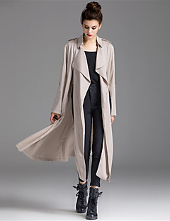Women's Casual/Daily Simple Fall Coat,Solid Shawl Lapel Long Sleeve Maxi Polyester