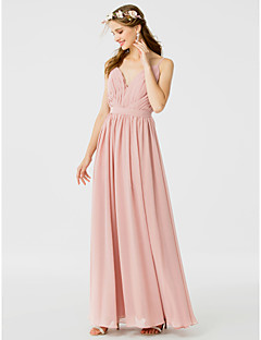 cheap Long Bridesmaid Dresses-A-Line Princess Spaghetti Straps Floor Length Chiffon Bridesmaid Dress with Sash / Ribbon Side Draping by LAN TING BRIDE®
