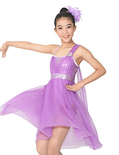 cheap Ballet Dance Wear-MiDee Ballet Dresses Women's / Children's Performance Spandex / Polyester / Sequined Flower(s) / Sequins / Splicing 2 Pieces Sleeveless Natural