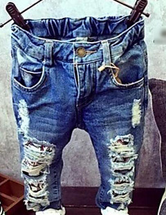 Girls' Solid Jeans Spring Fall Blue
