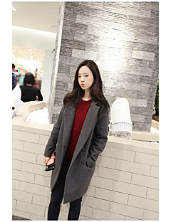 Women's Casual/Daily Simple Fall Winter Coat,Solid Shirt Collar Long Sleeve Long Acrylic