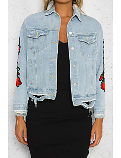 Damen Solide Street Schick Ausgehen Lässig/Alltäglich Jeansjacke,Hemdkragen Frühling Herbst Lange Ärmel Standard Baumwolle Stickerei
