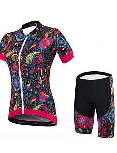 Wielrenshirt met shorts Dames Korte mouw Fietsen Short/Broekje Shirt Gewatteerde shorts Kleding Onderlichaam PakkenSpandex 100% Polyester