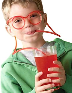 baratos Acessórios de Drinkware-2 pcs de palha de vidro exclusivo flexível tubo de beber crianças barra de acessórios