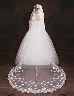 cheap Wedding Veils-One-tier Lace Applique Edge Wedding Veil Elbow Veils Chapel Veils 53 Appliques Embroidery Tulle