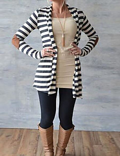 Women's Holiday Regular Cardigan,Striped Color Block Round Neck Long Sleeves Others Spring Fall Medium Micro-elastic