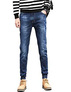 Pánské Jednoduchý Mikro elastické Jogger Džíny Kalhoty Štíhlý Mid Rise Jednobarevné
