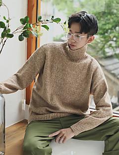 tanie Męskie swetry i swetry rozpinane-Męskie Wełna Golf Pulower Jendolity kolor / Wielokolorowa Długi rękaw