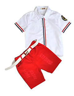 Boys' Stripe Clothing Set,Cotton Summer White Red