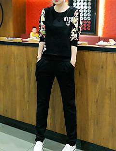レディース お出かけ 秋 パーカー パンツ スーツ,シンプル ラウンドネック メッセージ 長袖