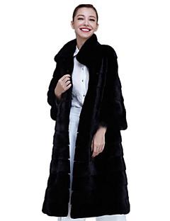 Women's Casual/Daily Simple Winter Fall Fur Coat,Solid Stand Long Sleeve Long Fox Fur Rex Rabbit Fur