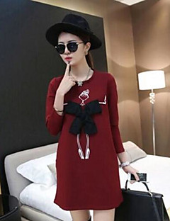 Women's Casual/Daily Sweatshirt Solid Print Round Neck Inelastic Cotton Polyester Long Sleeve Fall