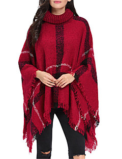 Women Vintage Cloak Cape Bohemian Tassels Fringed Shawl Wrap Scarf Wool Acrylic Rectangle Plaid Spring Fall Red/Black/White/Yellow/Dark Grey