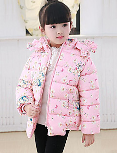 Girls' Floral Down & Cotton Padded,Polyester Winter Fall Long Sleeve Floral Green Blushing Pink