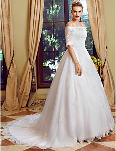 Ball Gown Off-the-shoulder Chapel Train Lace Tulle Wedding Dress with Appliques Buttons by LAN TING BRIDE®