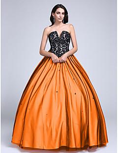 tanie Sukienki kolorowe i wzorzyste-Balowa Bez ramiączek / Rozcięcie w kształcie V Sięgająca podłoża Koronka podszyta tiulem Blok kolorów Kolacja oficjalna Sukienka z Koraliki / Koronka przez TS Couture®